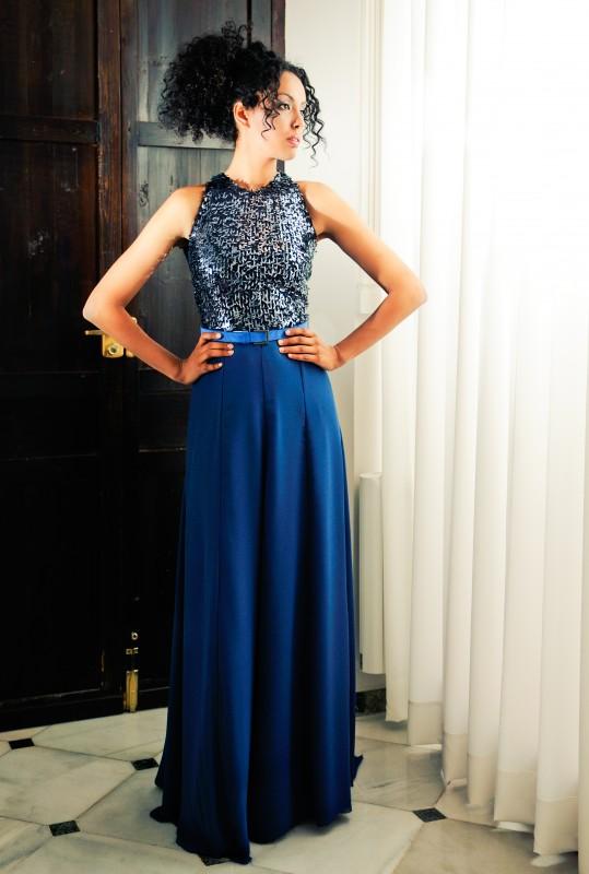 African woman in blue dress